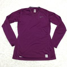 Nike Pro purple long sleeve V-neck top medium Never once, just washed, has a light grey logo and a lining on the collar, no flaws, no trades Nike Tops Tees - Long Sleeve