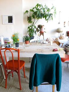 Red chair - mistmatched dining room