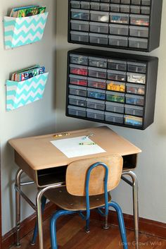 How to set up a Kid's Creative Center! Great ideas for storing coloring books, art supplies, Legos, and more! Give your kids the perfect space to get their creative on!