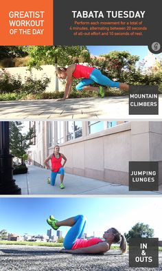Greatist Workout of the Day, Tuesday, September 2nd: 4:00 Tabata each of mountain climbers, jumping lunges, and in-and-outs