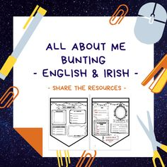 This bundle contains two sets of 'All About Me' bunting - perfect for September. Each set is in both English and Gaeilge. Set one is aimed towards the younger classes - Senior Set two is aimed towards - class 6 Class, Poetry Anthology, Job Chart, Spelling Lists, Classroom Rules, Getting To Know, Bunting, To Tell, Teaching Resources