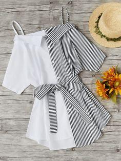 Shein Contrast Stripe Self Tie Waist Shirt Dress
