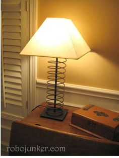 DIY Craft Projects using Old Vintage Windows Doors - Trash to Treasure - Architectural Salvage - love this lamp made from a spring