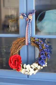 Patriotic+Wreath++Summer+Wreath++4th+of+July+by+Firenzi+on+Etsy,+$35.00