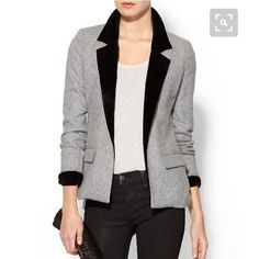 """Piperlime contrast blazer Size Small. True to size except upper arms run just a little tight.   It will fit great on a body type with slim upper arms. 100% polyester and 100% Rayon lining. The light grey feels like a wool type fabric. The black lapel and lining of cuff has a velvet feel to it. Shoulder width 15"""". Arm length 25"""". Nape of neck to bottom hem 27"""". BRAND NEW! Never worn. Non smoking home. Piperlime Jackets & Coats Blazers"""