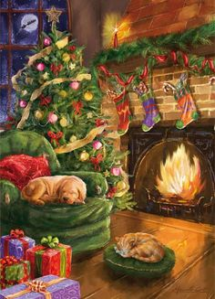 Weihnachtsbilder Decorated Home With Christmas tree Hung Stockings, and a dog and cat curled up near Christmas Scenes, Noel Christmas, Christmas Animals, Vintage Christmas Cards, Winter Christmas, Christmas Crafts, Christmas Decorations, Vintage Ornaments, Christmas Greetings