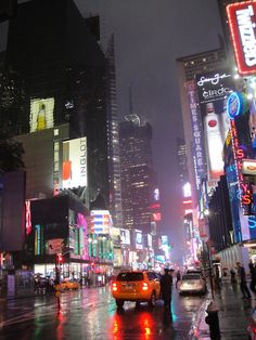 Nighttime after rain in New York City.