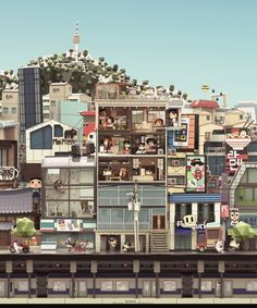 The awesome papercraft styled illustration shows us the city life in Seoul. If you like this kind of sophisticated design, let's go on seeking those interesting 3d Cinema, 3d Artwork, Architecture Drawings, 3d Artist, Animation, Environment Design, City Life, Decoration, Pixel Art