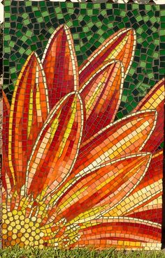 Vibrant red and orange flowers always make me happy.  A mosaic form?  GORGEOUS