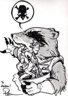 Petersen David - Rocket Raccoon & baby Groot Comic Art