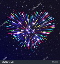 Heart-Shaped Firework With Multicolored Lights. The Glow And ...