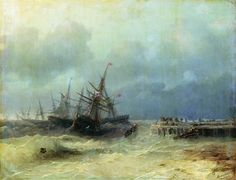 Fleeing from the storm - Ivan Aivazovsky - Completion Date: 1872