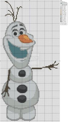 Frozen - Olaf Cross Stitch Pattern by alissa Disney Cross Stitch Patterns, Cross Stitch Charts, Cross Stitch Designs, Cross Stitching, Cross Stitch Embroidery, Embroidery Patterns, Knitting Patterns, Disney Stitch, Plastic Canvas Crafts