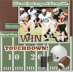 """""""touchdown""""scrapbook page - - papers and embellies by reminisce.... tami sanders,sports page,sports scrapbook layout,football layout,football scrapbook"""