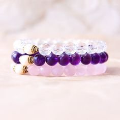 Mala Bracelets, Yoga Bracelet Set, Meditation Beads, Buddhist Jewelry Gift Set, Quartz Crystal, Amethyst, Rose Quartz & Freshwater Pearl