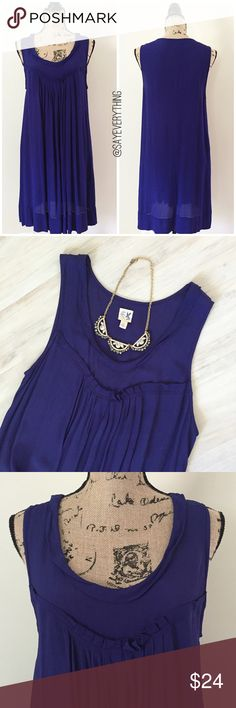 """Anthropologie Edme & Esyllte Sunbaked Sheath Dress Beautiful deep indigo almost purple color. Sheath dress with pullover styling. Loose fitting. Slightly sheer crepe. The lining has been removed from this dress, so I recommend wearing nude underclothes for it. Missing fabric content tag, but it is a viscose according to the website. Size S with a loose fit. Bust is 19"""" across and length is 37"""". No holes or stains. Lightweight and vacation-ready. Thanks for looking! Anthropologie Dresses"""
