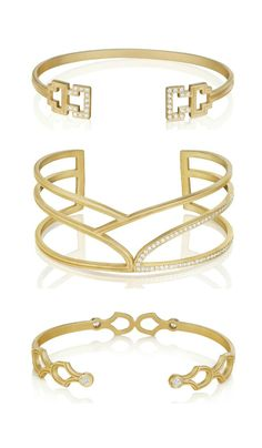 Three gold and diamond bracelets by Doryn Wallach