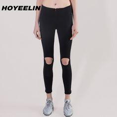HoYeeLin 2018 Sport Leggings For Women High Waisted Yoga Sports Running Hole Pants Gym Legging Sport Women's Tracksuits Fitness Women's Sports Leggings, Women's Leggings, Sports Women, Yoga Pants, Push Up, Black Jeans, Official Store, Running, Female