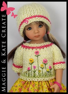 """* Pink & Yellow * Outfit for Little Darlings Effner 13"""" by Maggie & Kate Create"""