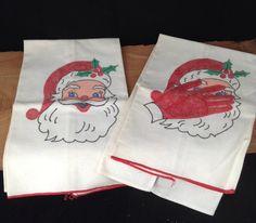 Vintage  Santa Handtowels Holiday Handtowel Set by PinkHenStudio