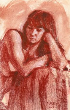 life drawing, sanguine conte pencil, 6x10 in