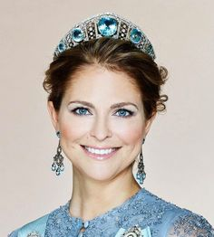 Princess Madeleine of Sweden wearing the Aquamarine Kokoshnick tiara