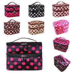Fashion Portable Colorful Small Dots Toiletry Makeup Wash Case Handbag Cosmetic Bag Gift  Popular