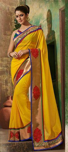 131773: IzabelleLeiti Bollywood Traditional saree Yellow Embroidery