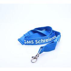 Promoschlüsselbänder Material: Polyester Breite: 20mm Druck: Siebdruck Verschlüsse:Standard Clip: Kunststoff Sicherheitsclip GMS Schreinesch