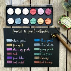 Watercolor Pan Set for Calligraphy, 12 Pearl Colors Watercolor Pans, Watercolor Lettering, Watercolor Pencils, Brush Lettering, Gold Watercolor, Watercolor Ideas, Calligraphy Nibs, Calligraphy Tutorial, Blue And Silver
