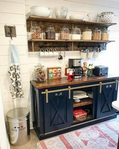 Coffee Bar by The Gritty Porch Furniture Co - Aged brass hardware sliding consol. Coffee Bar by Th Coffee Nook, Coffee Bar Home, Home Coffee Stations, Coffee Wine, Coffee Corner, Coffee Bar Ideas, Coffee Maker, Beverage Stations, Coffee Bar Design