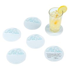 PLEASE GROUP WITH GLASS REVERSE SILHOUETTE (lady at mailbox.)  AND WEDDING CAKE / TIME CAPSULE/ FIRST ANNIVERSARY PIÑATA.   Wedding Advice Card Coasters - OrientalTrading.com