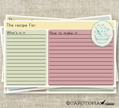 Retro RECIPE CARD 3X5 Printable Design Mixing by Cardtopia Designs