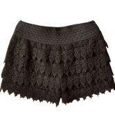 Black Layered Crochet Lace Shorts $24.71