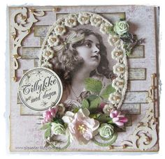 pipserier: Card w. lace frame
