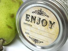 Vintage Enjoy Canning jar labels, 2 inch round stickers for mason jars, fruit and vegetable preservation, jam and jelly