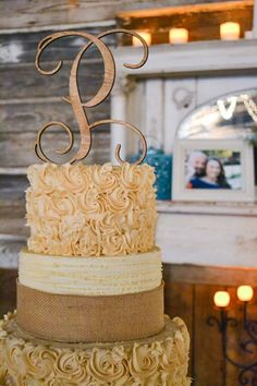 Wedding reception barn, wedding décor, wedding cake. Rustic barn wedding and reception venue in Alabama whiteacresfarms.com