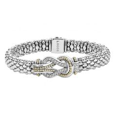 Diamonds and 18k gold woven in a knot motif form this signature sterling silver Caviar bracelet. Finished with a signature box clasp. LAGOS diamonds are the highest quality natural stones.