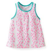 Made to mix with her favorite shorts, this versatile tank has a fun print and a comfy swing design.