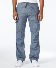 67ca6d4f Sean John Men's Pleat Pocket Flight Cargo Pants, Created for Macy's - Blue  40 Cargo