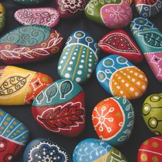 Painted beach pebbles magnets - set of 3 colorful magnets. $20.00, via Etsy.