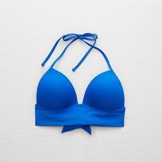 Aerie Perky Triangle Longline Bikini Top ($20) ❤ liked on Polyvore featuring swimwear, bikinis, bikini tops, blue, blue triangle bikini, swimsuit tops, neck-tie, longline bikini and padded bikinis