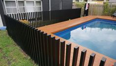 32 Awesome Stylish Pool Fence Design Ideas - Swimming pool fences are expected to secure babies and little youngsters. These systems keep kids from the dangers of suffocating and let them approac. Aluminum Pool Fence, Glass Pool Fencing, Concrete Fence, Gabion Fence, Fence Planters, Stone Fence, Bamboo Fence, Small Fence, Front Yard Fence