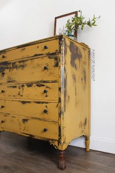 How to Paint a DIY Chippy Painted Dresser. A super easy way to makeover your thrift finds for a farmhouse style, old distressed style. This mustard yellow bedroom DIY uses natural milk paint powder and very little sanding. By A Ray of Sunlight Yellow Painted Furniture, Painted Bedroom Furniture, Vintage Furniture, Cool Furniture, Furniture Ideas, Modern Furniture, Furniture Design, Country Furniture, Outdoor Furniture