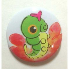 Pokemon Center 2013 15th Anniversary Caterpie Tin Can Badge