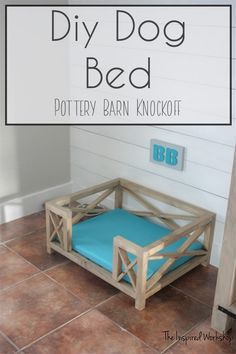 DIY Dog Bed - Pottery Barn Knockoff - This adorable X frame dog bed has the cutest farmhouse charm! Complete tutorial showing how to build the dog bed and make the cushion. This dog bed can be used for cats or any animal really! The size is for a m Pottery Barn, Dog Bed Frame, Bed Frames, Diy Bett, Diy Dog Bed, Wood Dog Bed, Murphy Bed Plans, Diy Holz, Woodworking Projects Plans