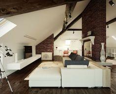 Wohnzimmer einrichten gemütlich unter Dachschräge