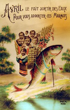 A photo and illustration filled vintage French April Fool's postcard. #vintage #April_Fools_Day #fish