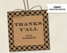 Thanks Y'all Gift Tags Printable for Thank You Gifts, Kraft by RevintagedArt