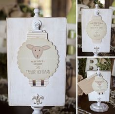 Vintage Lamb Themed Neutral Baby Shower | Jennifer Jones Photography | Gender Neutral | Rustic | cream | burlap | baby shower | vintage | typography | shower invitations